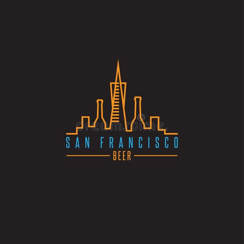 San francisco skyline with beer bottles vector design. Template illustration vector illustration