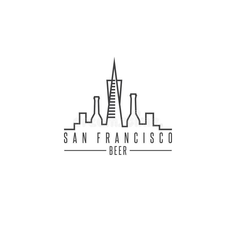 San francisco skyline with beer bottles vector design. Template illustration royalty free illustration