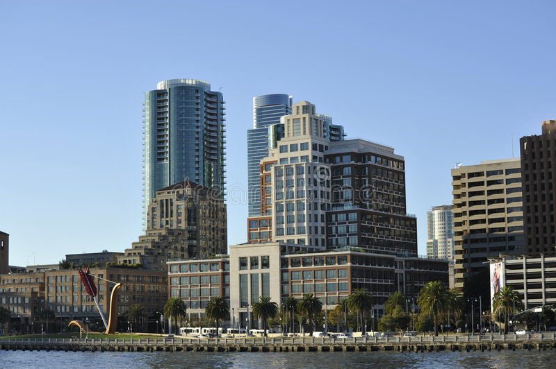 San Francisco skyline buildings; with peer and bay stock photography