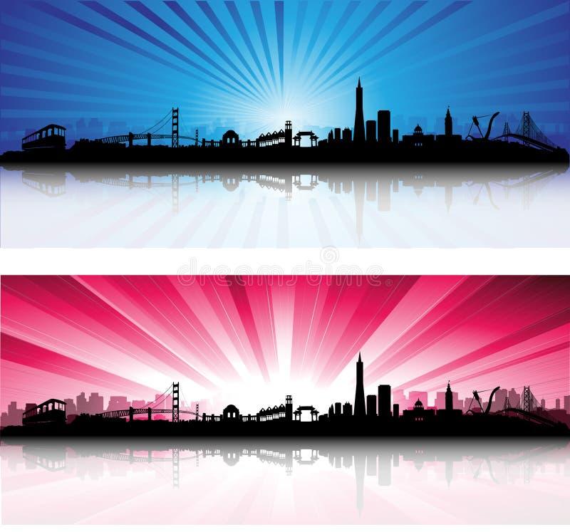 San Francisco Skyline with colorful Sky stock illustration