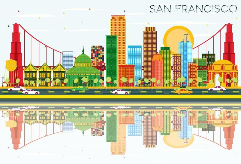 San Francisco Skyline con los edificios del color, cielo azul y refleja stock de ilustración