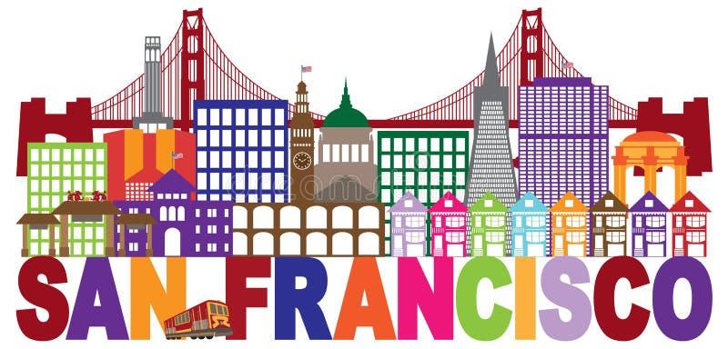 San Francisco Skyline ed illustrazione variopinta del testo illustrazione di stock