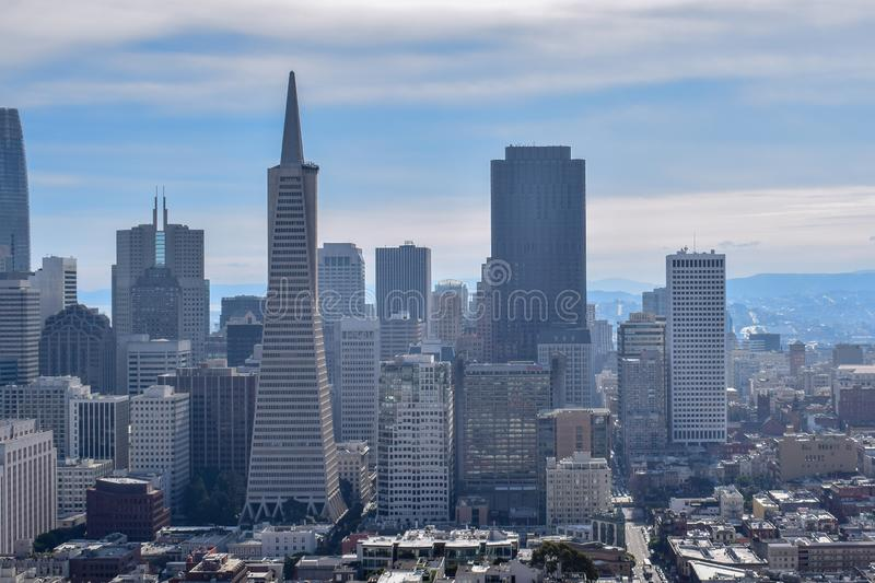 San Francisco Skyline - Financieel District royalty-vrije stock afbeelding