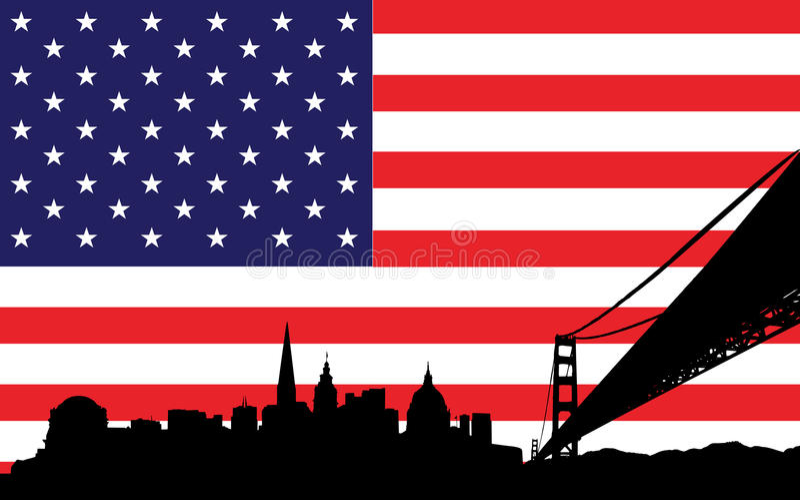 San Francisco Skyline and flag of USA royalty free illustration