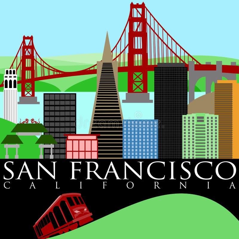 San Francisco Skyline with Golden Gate Bridge royalty free illustration