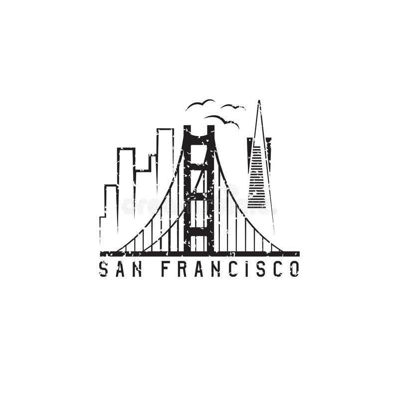 San francisco skyline grunge vector design template. Illustration royalty free illustration