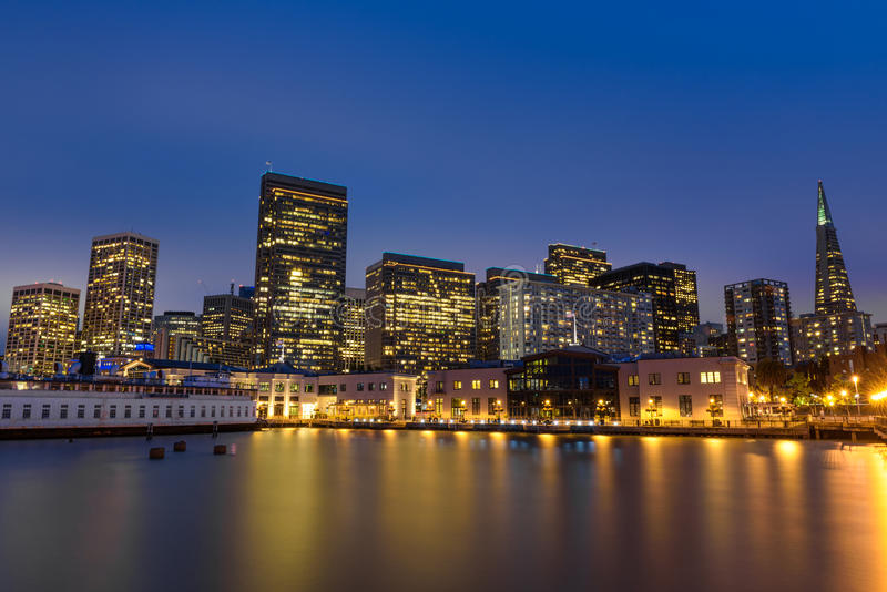 San Francisco skyline from Pier 7 after sunset royalty free stock image