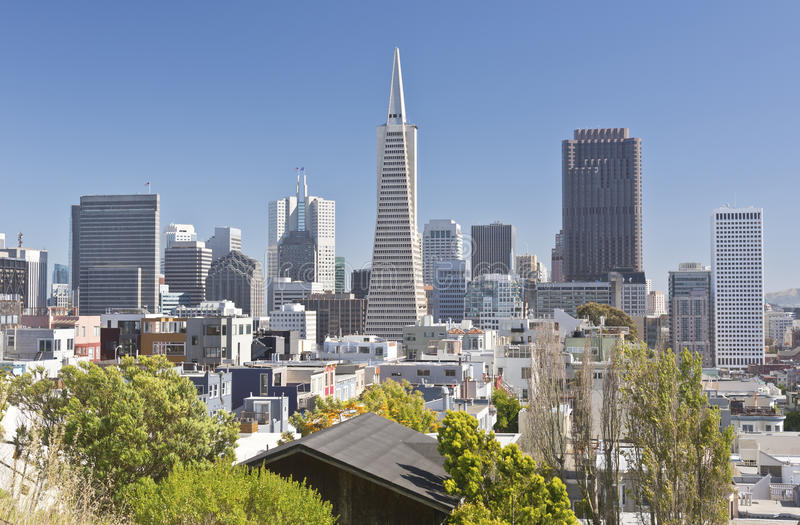 San Francisco skyline and residential area. stock images