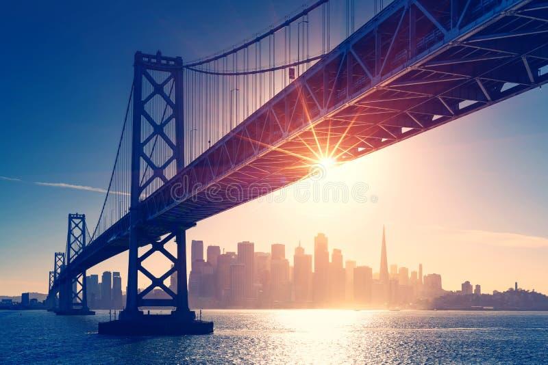 San Francisco skyline retro view. America spirit - California theme. USA background stock images