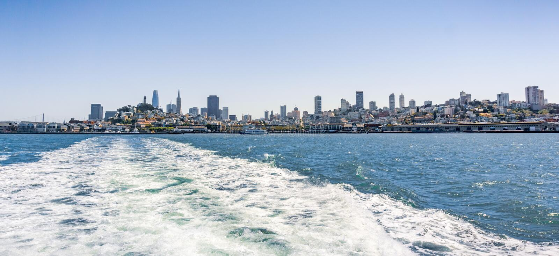 San Francisco skyline on a sunny day, California royalty free stock photography