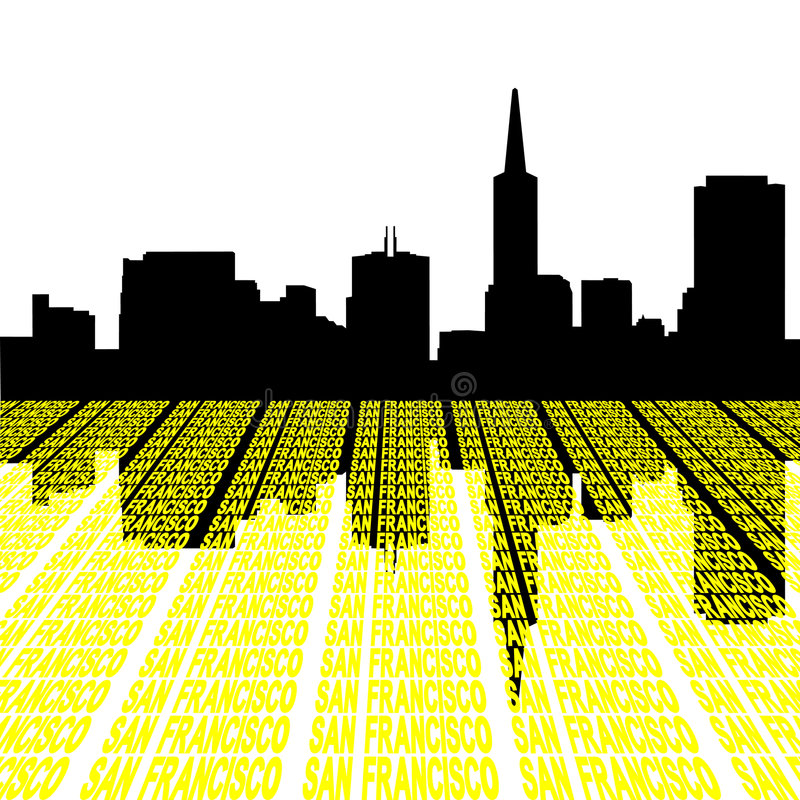 Download San Francisco Skyline With Text Royalty Free Stock Photography - Image: 8626707