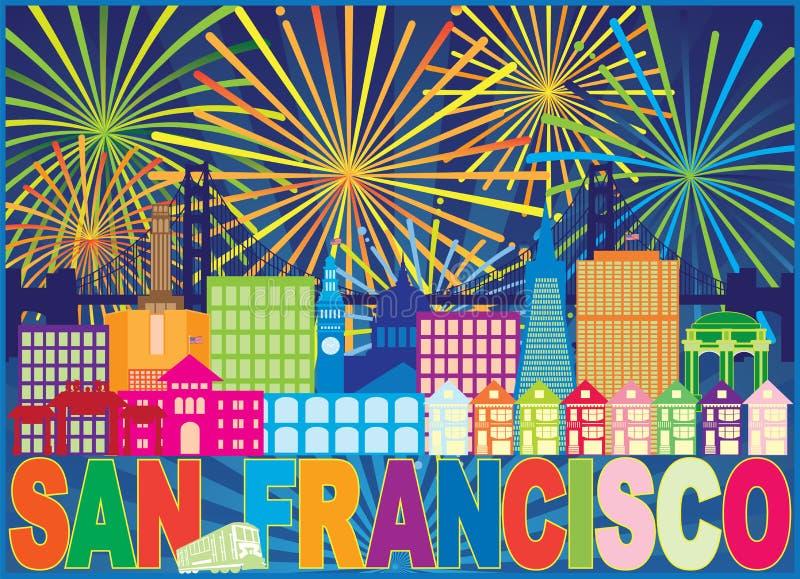 San Francisco Skyline Trolley Fireworks Color vector Illustration. San Francisco California City Skyline with Trolley Sun Rays Text Fireworks display pattern stock illustration