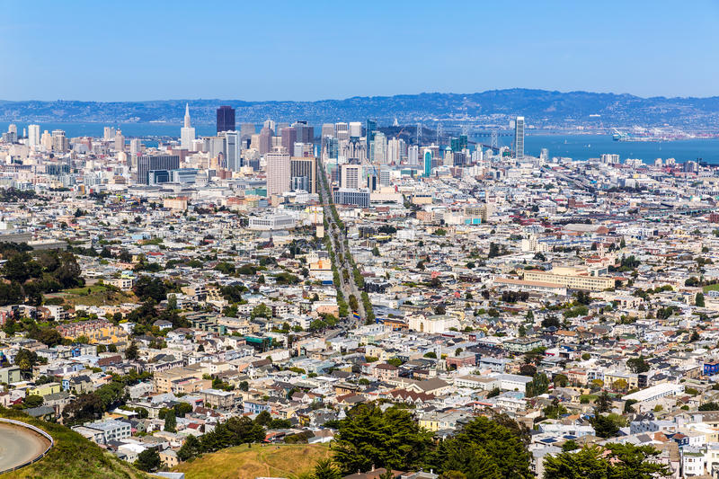 San Francisco skyline from Twin Peaks in California. USA high angle view stock photo