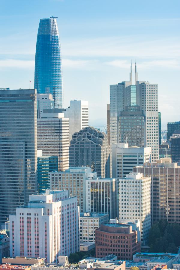 San Francisco skyline. View over the San Francisco financial district. Photo taken from the Coit tower stock photography