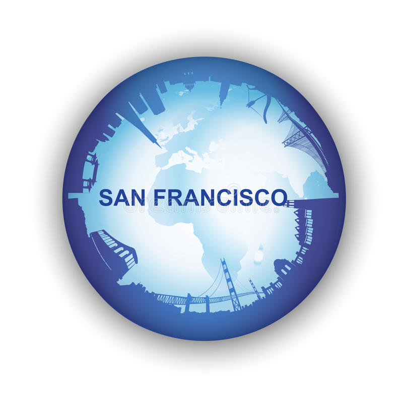 San Francisco Skyline with world globe royalty free illustration