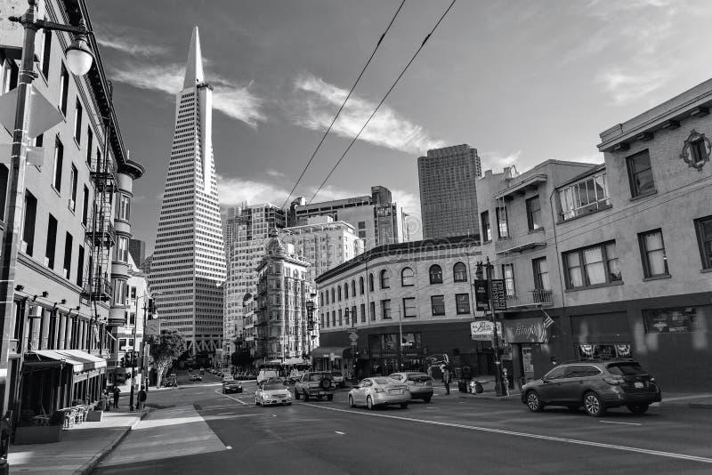San Francisco, Stati Uniti - poca Italia, distretto finanziario, in città fotografie stock libere da diritti