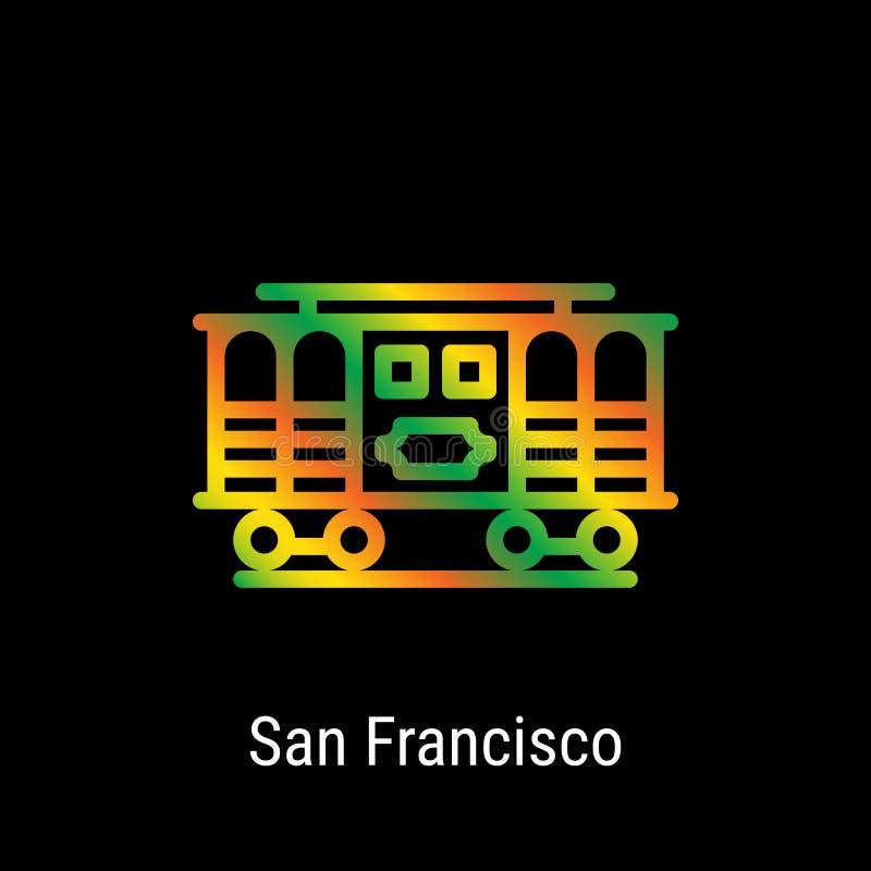 San Francisco, Stati Uniti Vector la linea icona illustrazione di stock