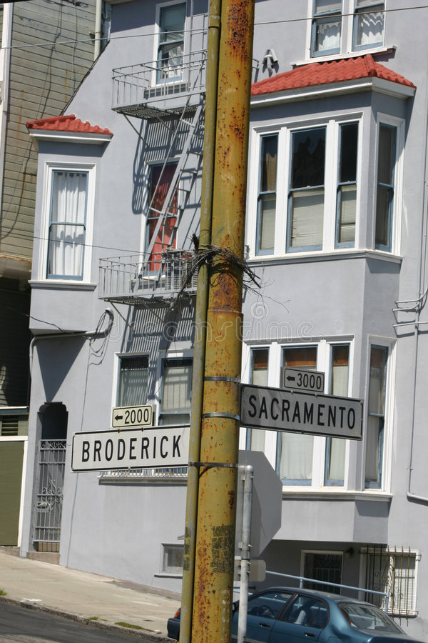 San Francisco Street. Street signs on the corner of Broderick and Sacremento in San Fransisco stock photos