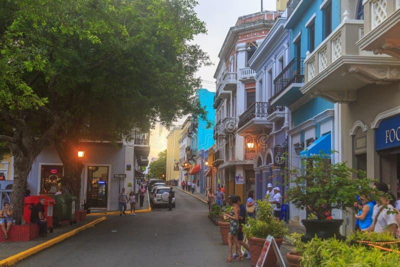 San Francisco Street Calle in old town San Juan royalty free stock image