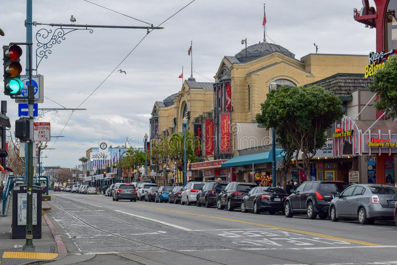San Francisco Street i fiskares hamnplatsområde royaltyfri bild