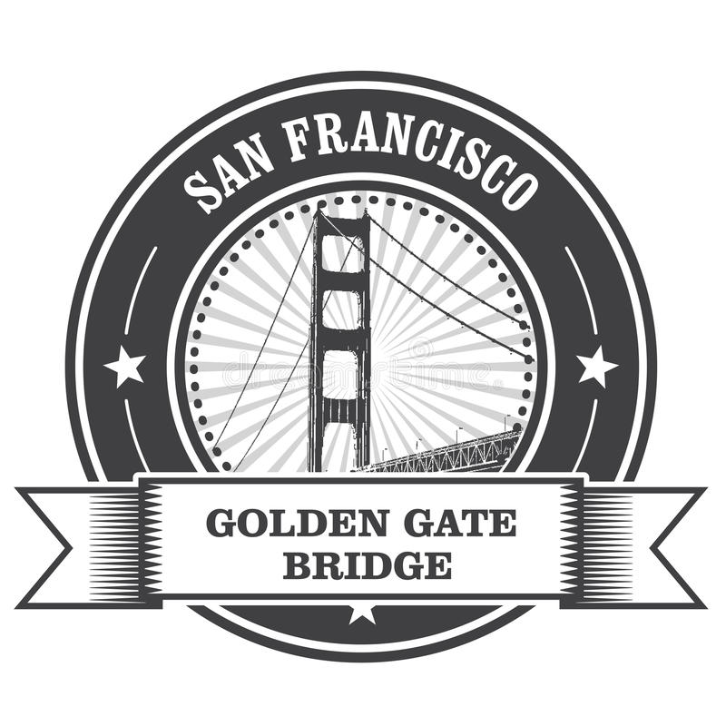 San Francisco symbol - Golden Gate Bridge. Stamp royalty free illustration