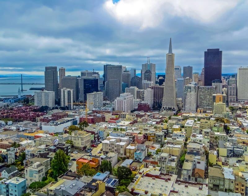 San Francisco Trans American Pyramid Building och finansiellt område royaltyfri bild