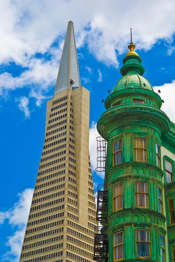 San Francisco Transamerica Pyramid and Sentinel Tower stock image