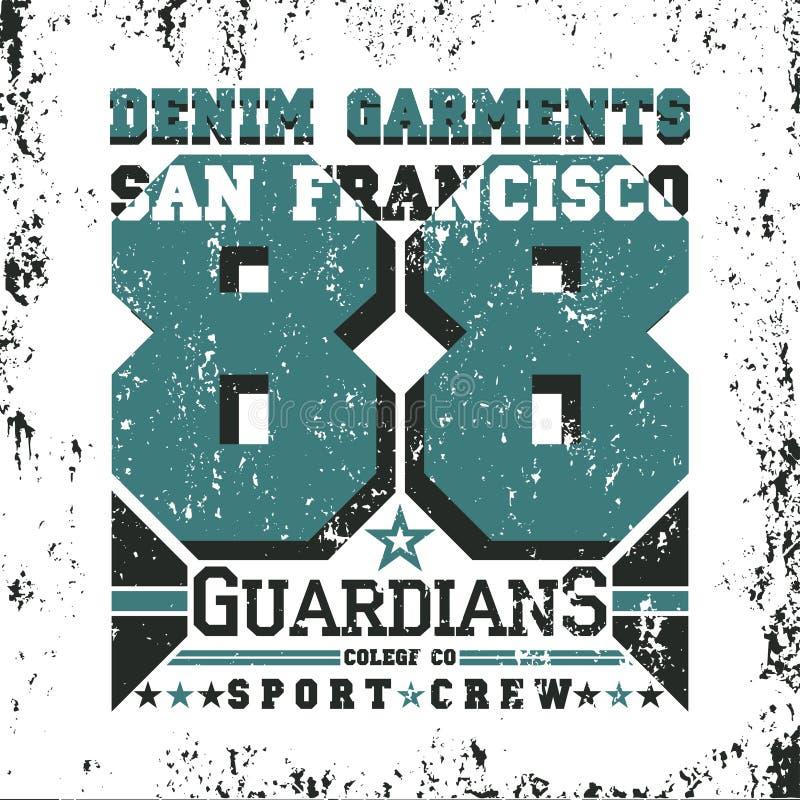 San Francisco Typografie, T-Shirt Weinlese, Entwurfsgraphik lizenzfreie abbildung