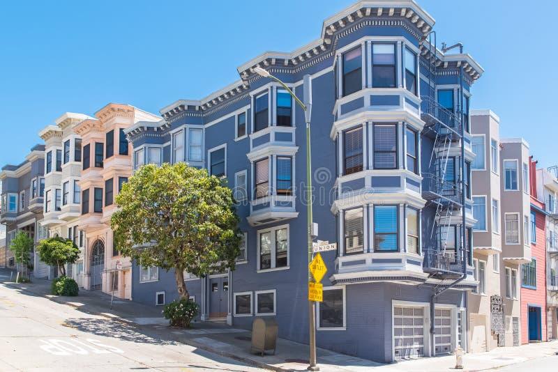San Francisco, typowi domy fotografia royalty free