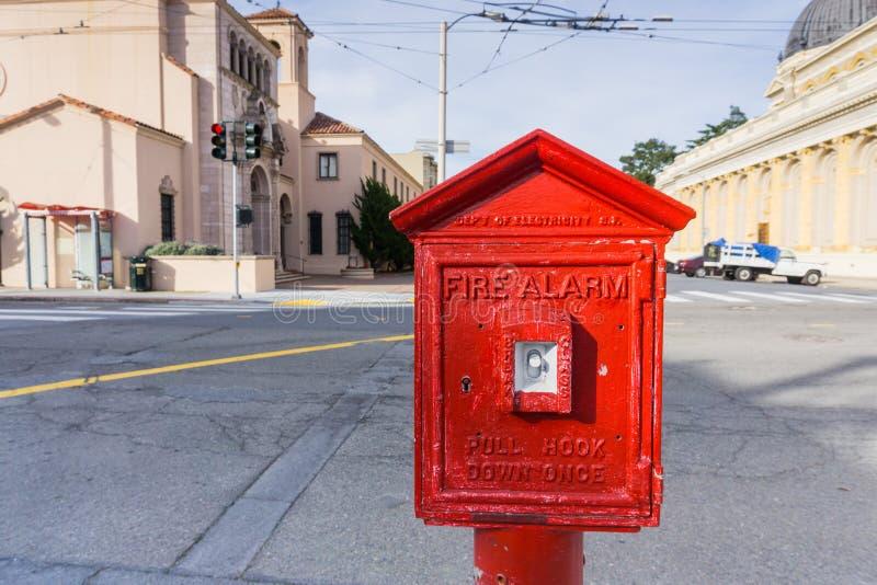 San Francisco Uliczny Pożarniczy alarm obrazy royalty free