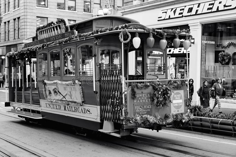 San Francisco, United states - Cable Car Tram Powell-Hyde is famous tourist attraction. San Francisco, United states - Cable Car Tram Powell-Hyde manually stock photos