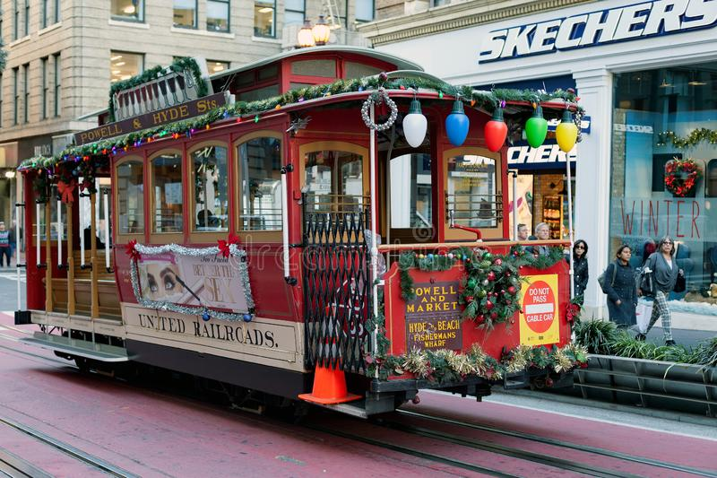 San Francisco, United states - Cable Car Tram Powell-Hyde is famous tourist attraction. San Francisco, United states - Cable Car Tram Powell-Hyde manually royalty free stock images