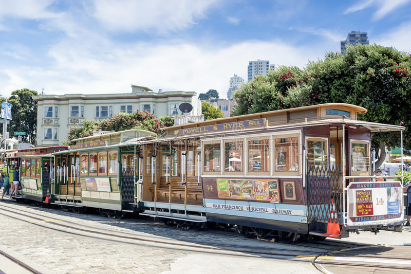 San-Francisco-United States, July 13, 2014: Authentic San-Francisco Tram On Parking Place on July 13, 2014 in San-Francisco, Cali stock photo