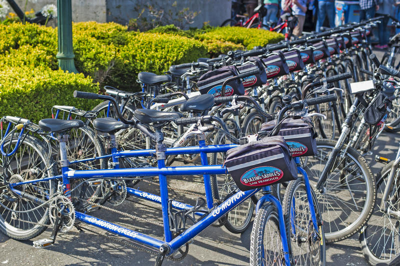 "San-Francisco-United States, July 13, 2014: Line of Plenty Public Bicycles for Leisure Activities Outdoors. 'Blazing Saddles"" in San-Francisco on royalty free stock photos"