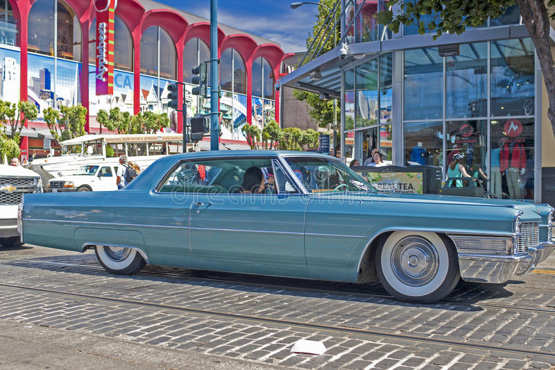 San-Francisco-United States, July 13, 2014: Old and Shiny Restored Authentic 1963 Cadillac Series Sixty One coupe on Street of Sa stock image