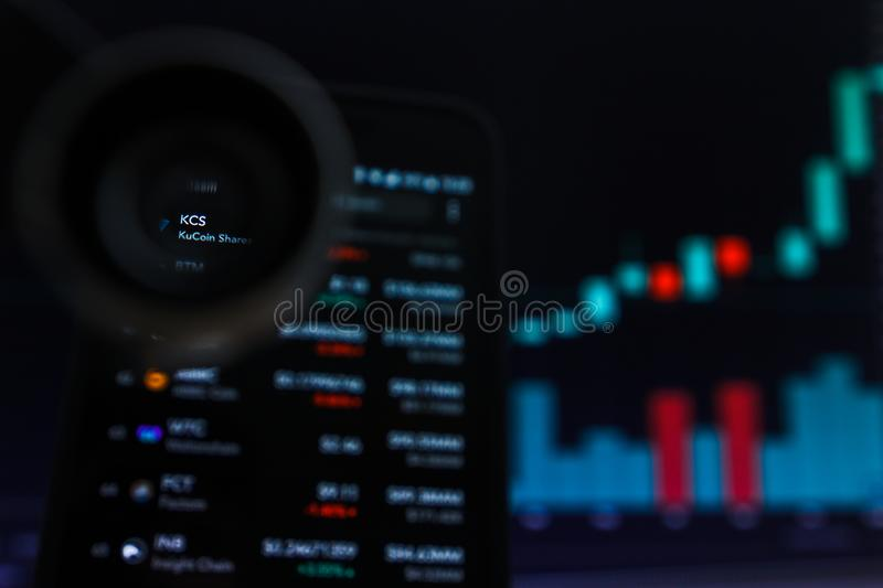 SAN FRANCISCO, US - 9 May 2019: A Graph of Increasing Trend of KCS KuCoin Shares Cryptocurrency. The Illustration of Green Candles royalty free stock photo