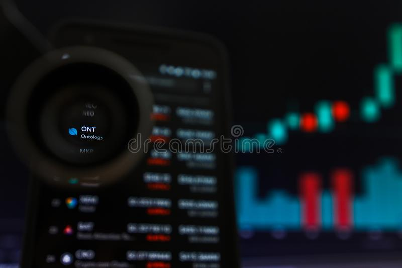 SAN FRANCISCO, US - 9 May 2019: A Graph of Increasing Trend of ONT Ontology Cryptocurrency. The Illustration of Green Candles Bar. Raising Trend, San Francisco royalty free stock images