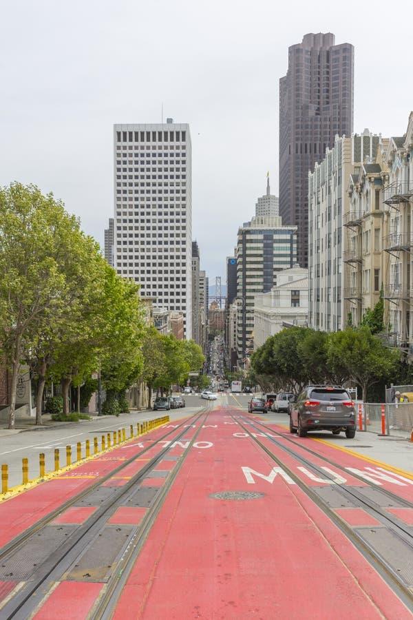 Street view at California St looking through the Bay Bridge in San Francisco,USA stock photo
