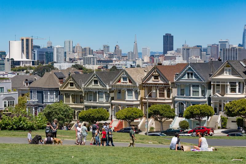 San Francisco USA - July 17, 2017 - Painted Ladies in San Francisco. It is the row of Victorian houses across Alamo Square park. royalty free stock photos