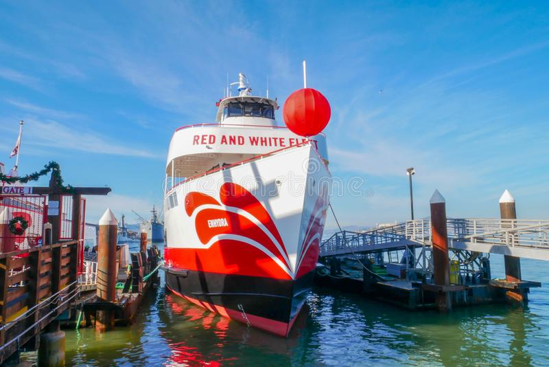 San Francisco,USA-June 26,2018,Red and white fleet Boat ferry for travel at San Francisco bay, California, USA. Cruise, tour, sea, view, tourism, ocean stock photography