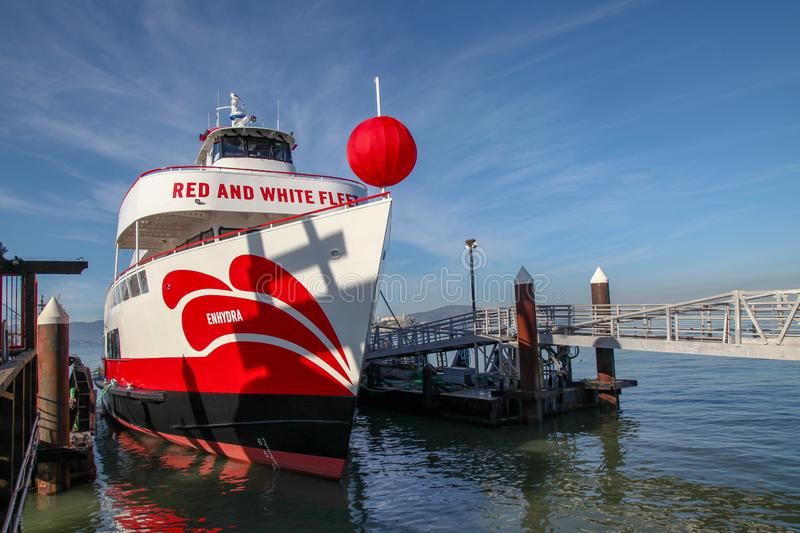 San Francisco,USA-June 26,2018,Red and white fleet Boat ferry for travel at San Francisco bay, California, USA. Cruise, tour, sea, view, tourism, ocean stock image