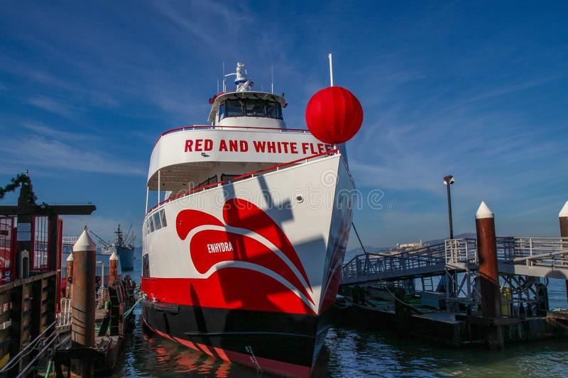 San Francisco,USA-June 26,2018,Red and white fleet Boat ferry for travel at San Francisco bay, California, USA. Cruise, tour, sea, view, tourism, ocean royalty free stock photography