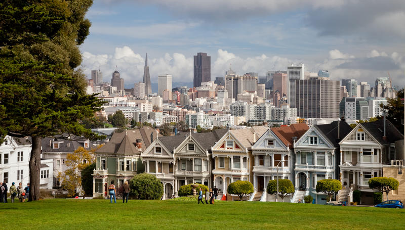 SAN FRANCISCO USA - målade damer royaltyfri bild
