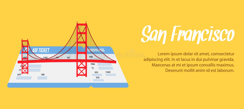 San Francisco Vector Banner, manifesto con Copyspace illustrazione di stock