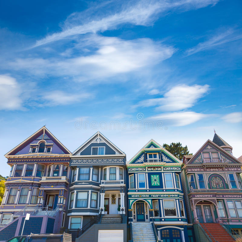 San Francisco Victorian houses in Haight Ashbury California stock images