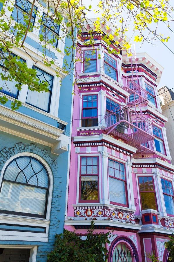 San Francisco Victorian houses in Haight Ashbury California royalty free stock photo