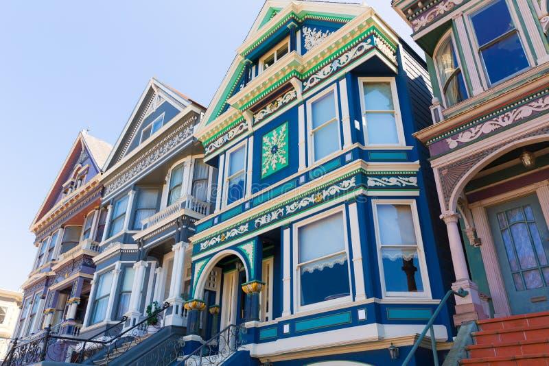 San Francisco Victorian hus i Haight Ashbury Kalifornien royaltyfri fotografi