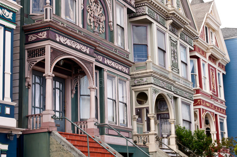 San Francisco Victorian Row Houses stockbilder