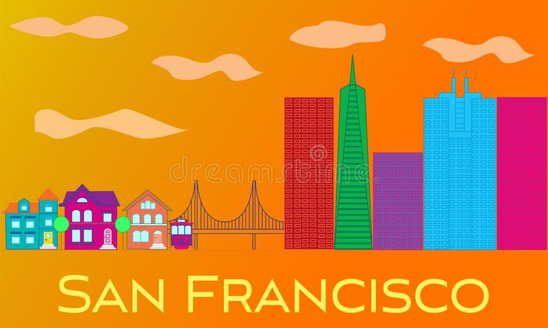 San Francisco yellow lettering. Vector with skyscrapers, cable car and golden gate bridge on orange background. royalty free illustration