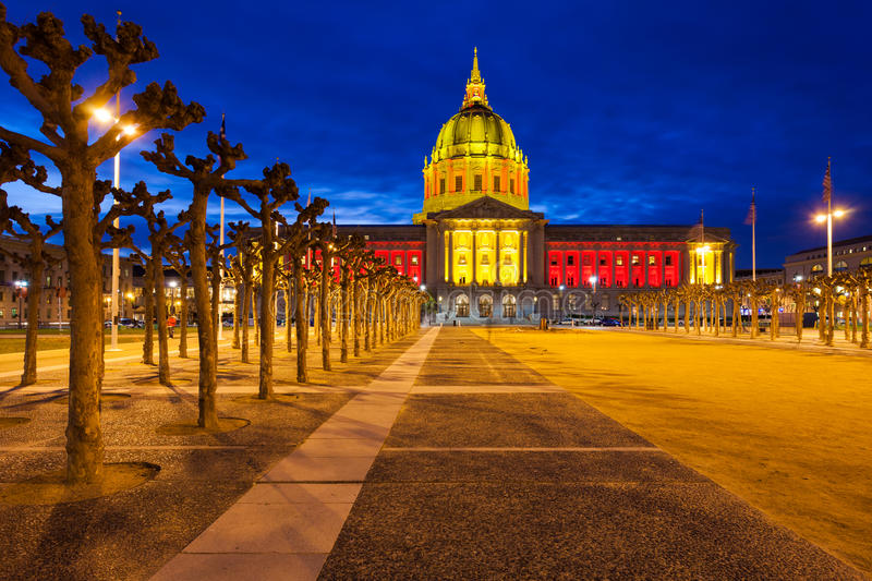 San Franicisco City Hall in Red and Gold royalty free stock photo